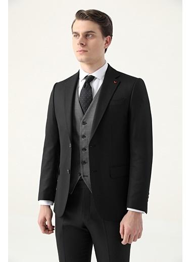 D'S Damat Slim Fit Armürlü Kombinli Takım Elbise Siyah